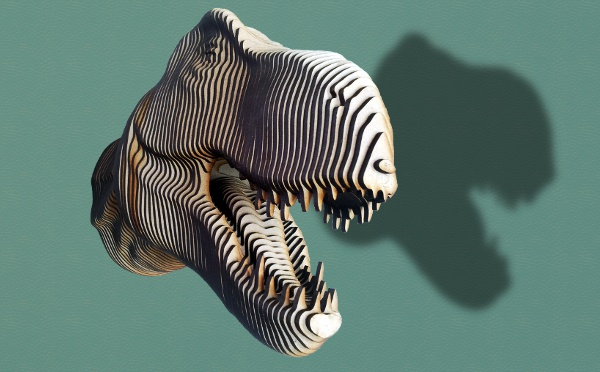 LASER PROFILE CUTTING LAYERED & ASSEMBLED T-REX DINOSAUR BUST